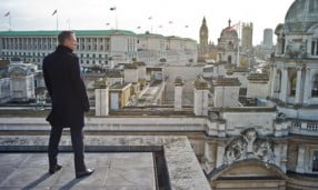 Jame Bonds looking over London in Skyfall