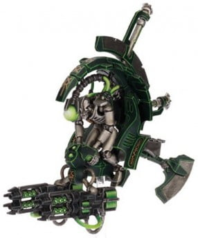 A Necron Tomb Blade armed with twin-linked Tesla Carbines