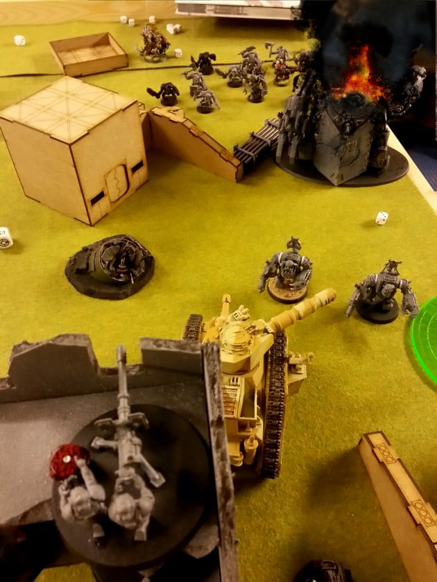 The Lascannon and Russ look out over to the burning Gorkanaut