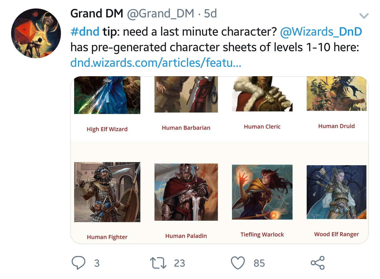 DM Tip: Need a last minute character? Dungeons and Dragons has per-generated character sheets of levels 1-10 on their website