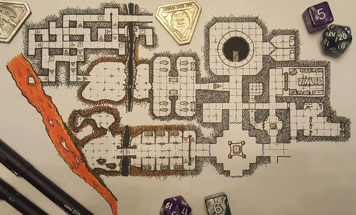 dungeon map for inktober now including a maze with traps