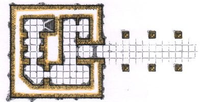 The lower level of a pyramid. Drawn by hand. Used for D&D or Fantasy RPGs
