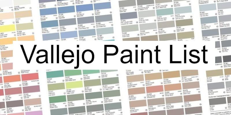 Vallejo Paint List & Codes