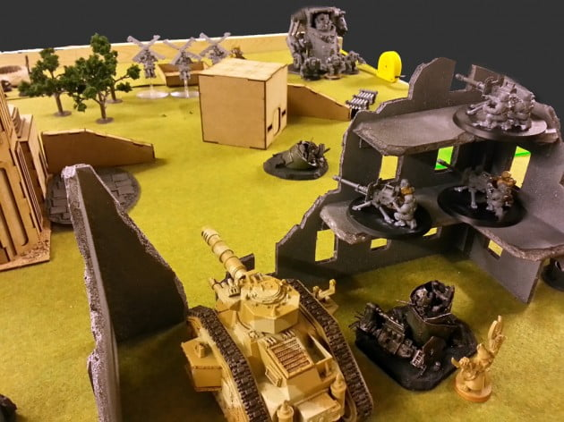 The firing positions for the lascannon team and Leman Russ