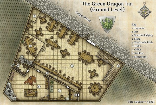 Starting in a tavern: The Green Dragon Tavern