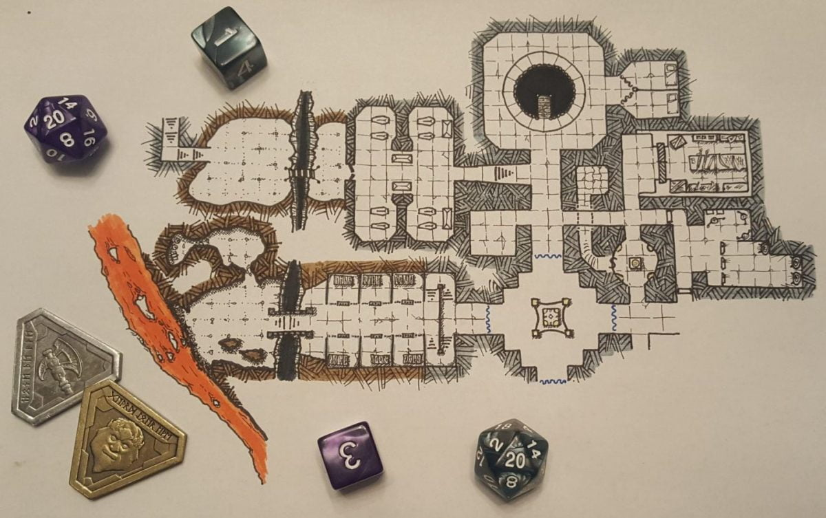 a new lava flow added to our inktober dnd map dungeon