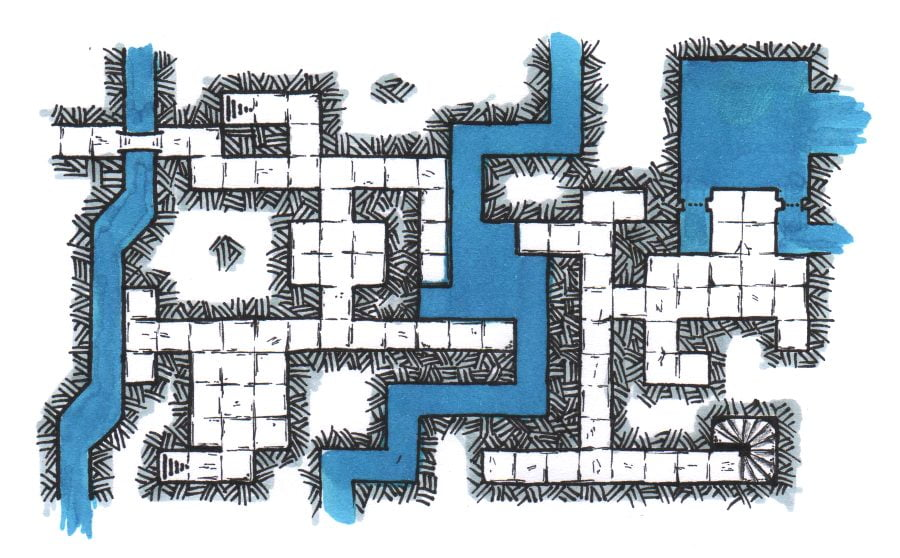 A hand-drawn RPG DnD map of City Aquifers
