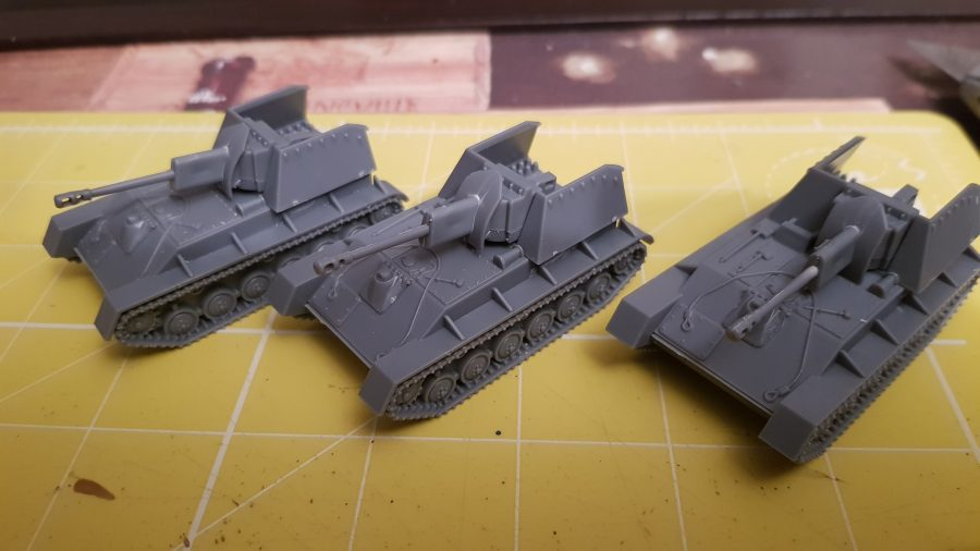 Russian SU76s models ready to be primed